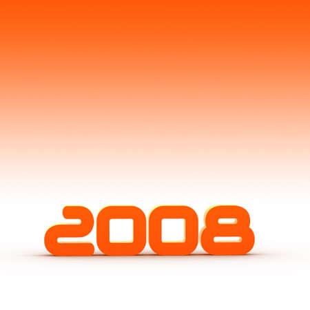 the year 2008 - illustration with orange background illustration