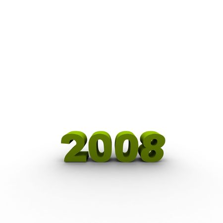 the year 2008 - 3d render illustration with shadow Stock Illustration - 2097222