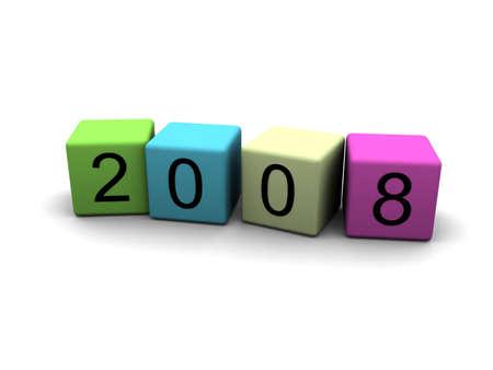the year 2008 - 3d illustration Stock Illustration - 2097236