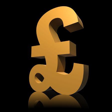 gold pound symbol - 3d illustration isolated on black background Stock Photo