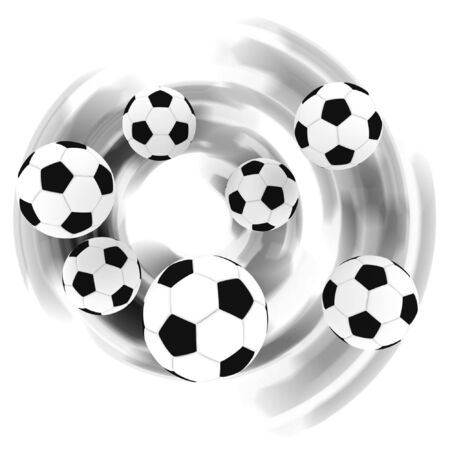 isolated soccer balls in the air with shadow - 3d illustration Stock Illustration - 2097240