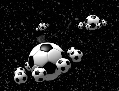 soccer balls in the space - 3d illustration