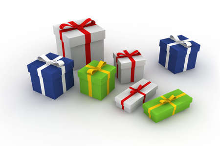gift boxes - 3d isolated illustration Stock Illustration - 2104450