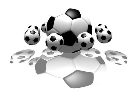 isolated soccer balls - 3d illustration