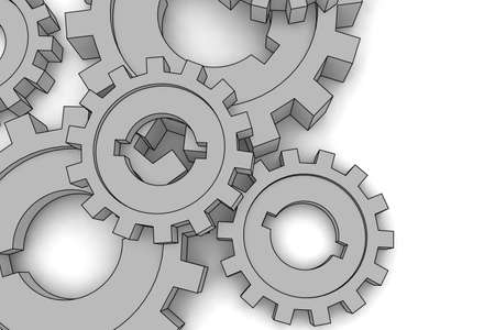 pinion: isolated cogwheels - business network - illustration