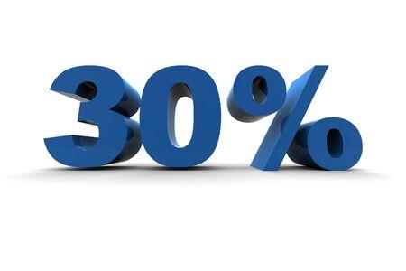 isolated 30% - 3d illustration on white background
