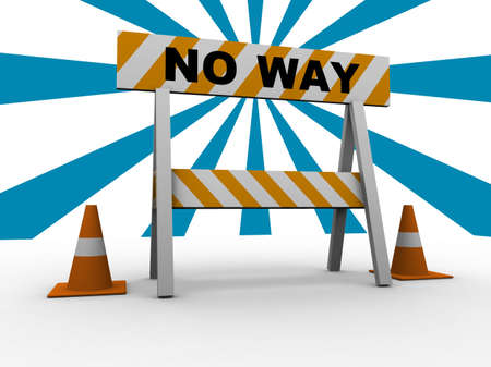 interim: No way! - construction and caution sign with traffic cones - 3d illustration