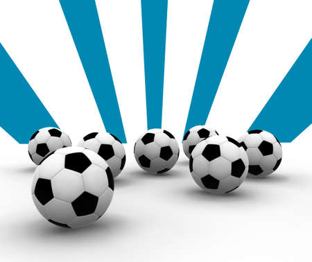 soccer balls on blue lines background Stock Photo