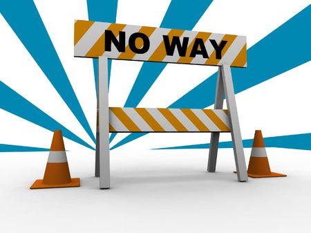 no way: no way! - construction and caution sign with traffic cones