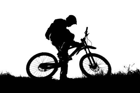 mountain biker silhouette - vector illustration Illustration