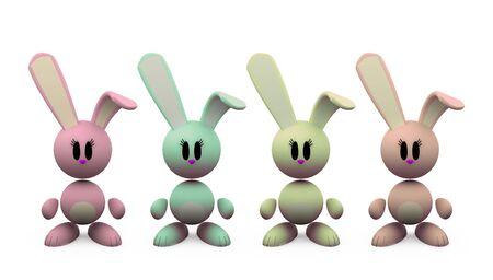 little rabbits - isolated illustrations on white background Stock Illustration - 3006649