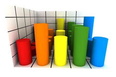 statistics - 3d isolated multicolor diagram
