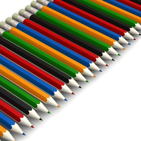 coloured pencils - 3d render - isolated on white background photo