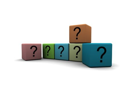question-marks on cubes - 3d render isolated illustration Stock Illustration - 3010771