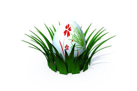 easter egg in the nest - 3d render - isolated on white Stock Photo - 3010781