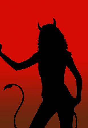 devil girl silhouette - illustration with red background