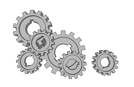 pinion: vector cogwheels - business network - isolated illustration  Illustration