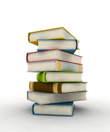 photorealistic: Pile of books - isolated on white background - photorealistic 3d render Stock Photo