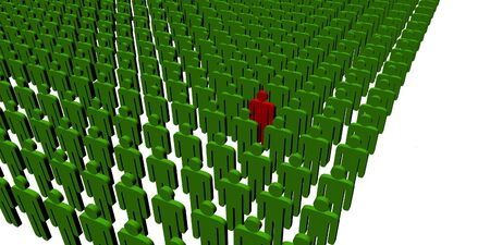outsider: 3d illustration - isolated 3d people - outsider
