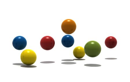 isolated spheres on white background - 3d render photo