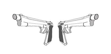 vector guns - 3d illustration on white background Stock Vector - 3279614