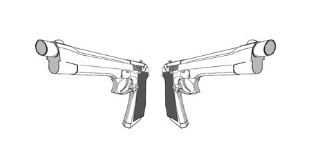vector guns - 3d illustration on white background Stock Vector - 3279614