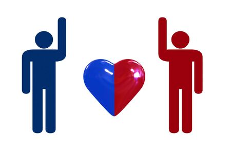 beckon: couple with heart symbol - isolated illustration