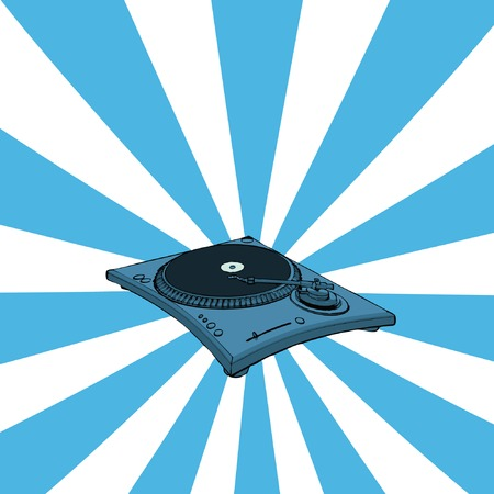 disk break: Turntable with blue retro background