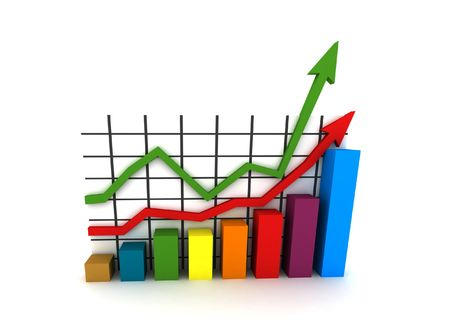 statistics - 3d isolated multicolor diagram Stock Photo