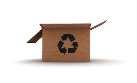 application recycle: open empty cardboard with recycle sign - 3d render illustration