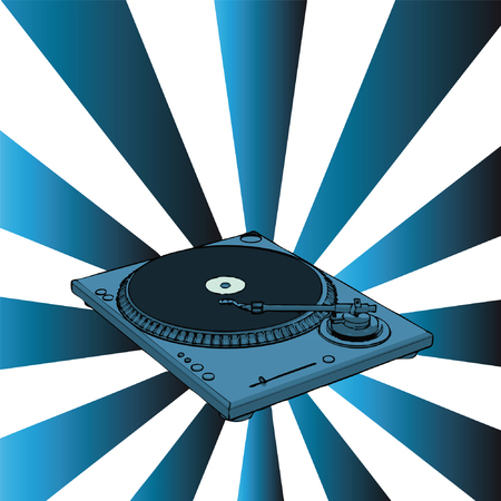vector turntable with blue retro background Stock Vector - 3598747