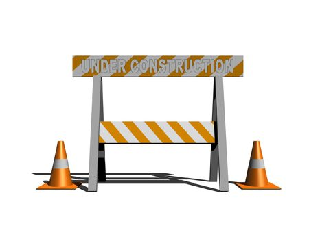 under construction - caution sign with traffic cones - 3d illustration Stock Illustration - 3598740