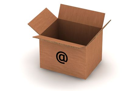 open empty cardboard with email symbol - isolated photorealistic 3d render