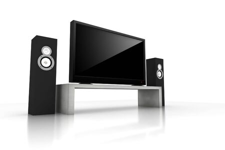 high definition: home teather  high definition television with speakers - isolated 3d render