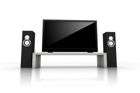 home teather / high definition television with speakers - isolated 3d render Stock Photo - 3621804