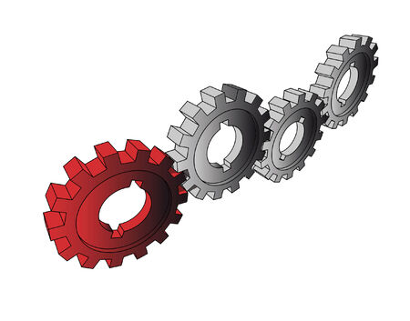 Cogwheels - business network - isolated illustration on white Vector