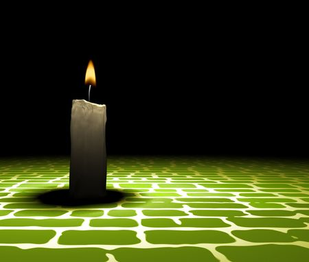 soft-glowing candle light on retro ground - 3d render  photo