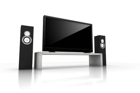 sound system: home teather  high definition television with speakers - isolated 3d render