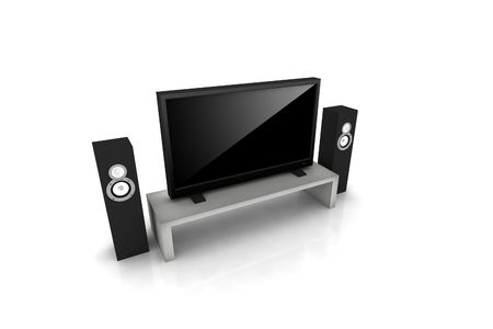 high definition television: home teather  high definition television with speakers - isolated 3d render