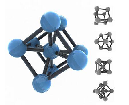isolated molecule - 3d render - set photo