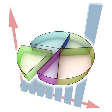 statistics - 3d multicolor diagram on white