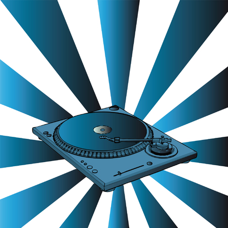vector turntable with blue retro background Vector