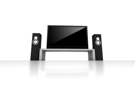 home theater: home theater  high definition television with speakers - isolated 3d render Stock Photo