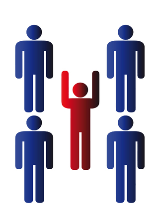 vector business teamworkers - isolated illustration on white Vector