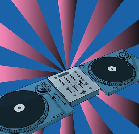 vector turntable with retro background Vector