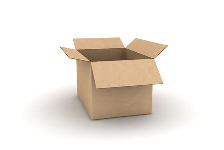 packer: empty cardboard - isolated 3d render illustration Stock Photo