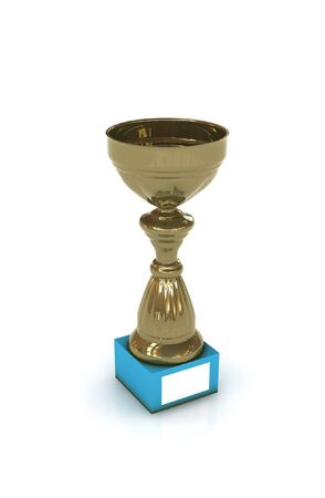 won: golden trophy - 3d render isolated on white Stock Photo