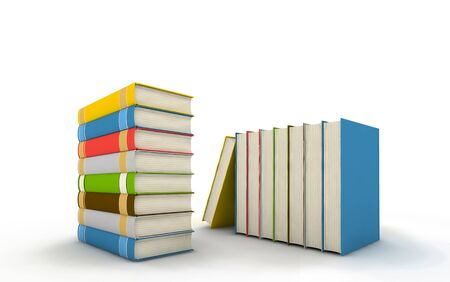 pile of books - isolated on white background - 3d render