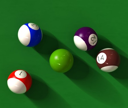 billiard table with balls - photorealistic 3d render photo