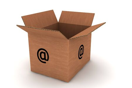 packer: cardboard with email symbol - isolated photorealistic 3d render Stock Photo
